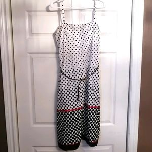 White with black polka dot fit and flare dress